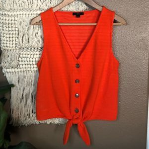J. Crew Orange Front Knot Tank Top